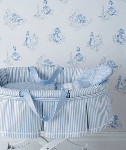 baby blue striped bassinet, light toile WP