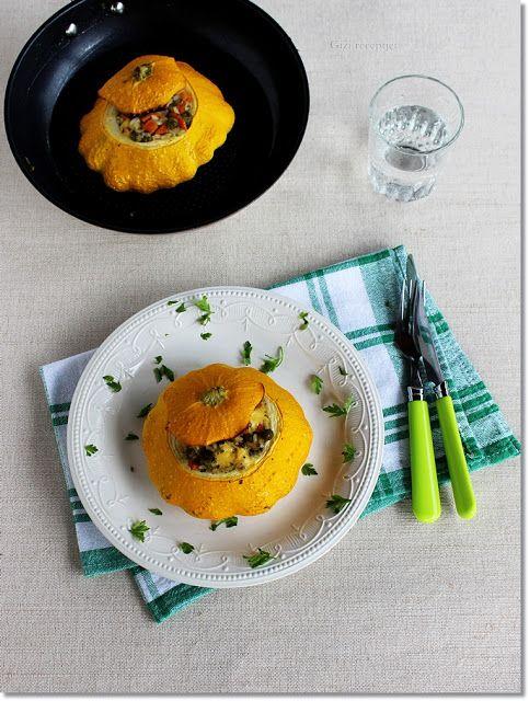 Gizi-receptjei.  Várok mindenkit.: Patiszon zöldséges-sajtos töltelékkel.
