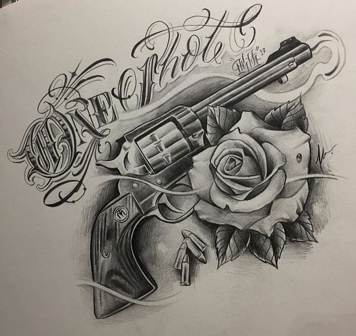 20 Tattoos Outlines Gangster Gun Ideas And Designs