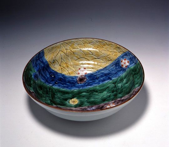 Rosanjin Kitaohji pottery 九谷風鉢 カワシマコレクション