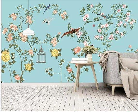 Fine Brushwork Chinoiserie Wallpaper Wall Mural Flowers And Birds