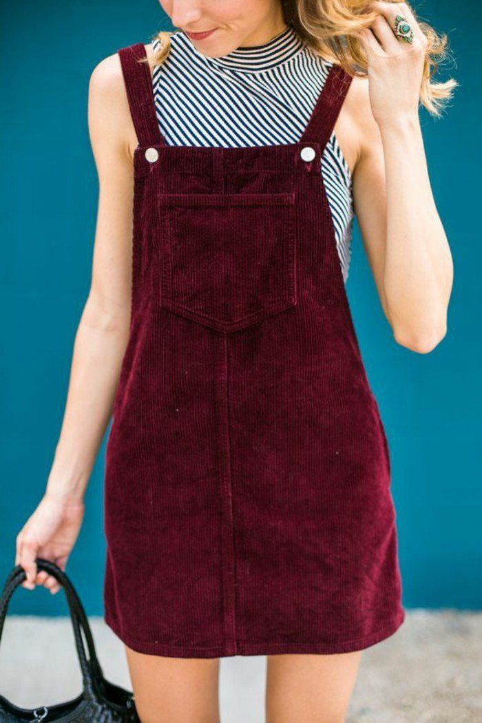 La robe de zara salopette robe velvet rouge cool idée tenue