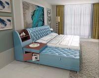 Post modern genuíno real cama de couro/cama macia/cama de casal king size/queen size quarto móveis para casa com caixa de armazenamento e aparador