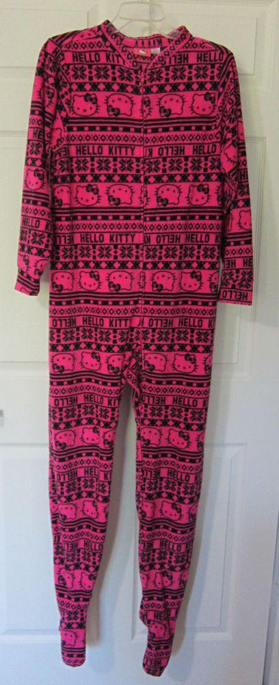 HELLO KITTY Medium Pink Black One Piece Pajamas Footed Zip Front Soft Fleece #HelloKitty #OnesieOnePieceFooted