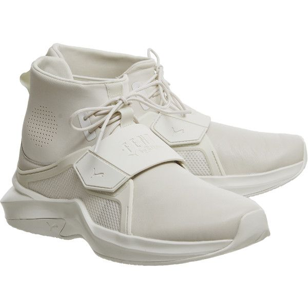 Puma Fenty Trainer Whisper White ($185) ❤ liked on Polyvore featuring shoes, sneakers, puma shoes, puma sneakers, puma footwear, white trainers and puma trainers