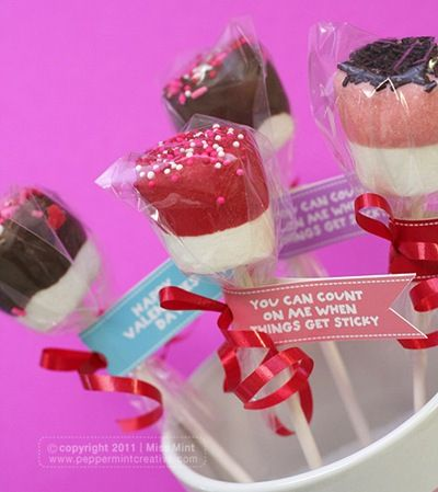 Easy Valentine's Craft- How to make Marshmallow Treat Pops. cute idea