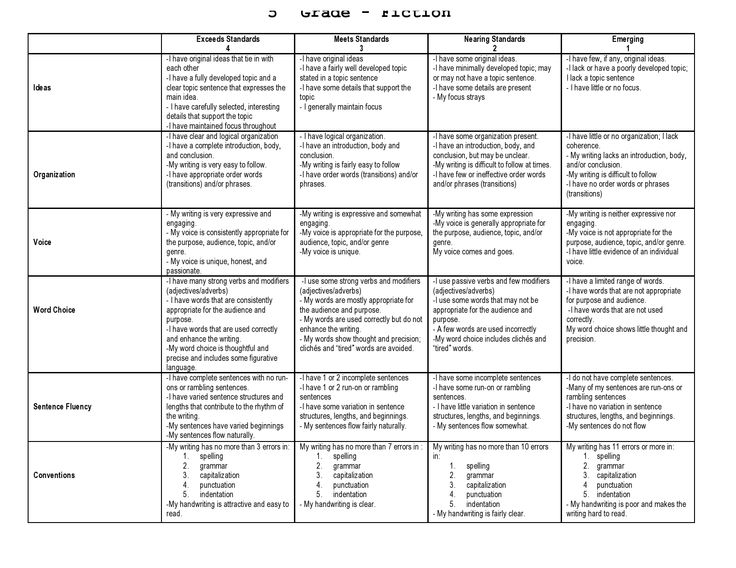 Literary essay rubric for 5th grade