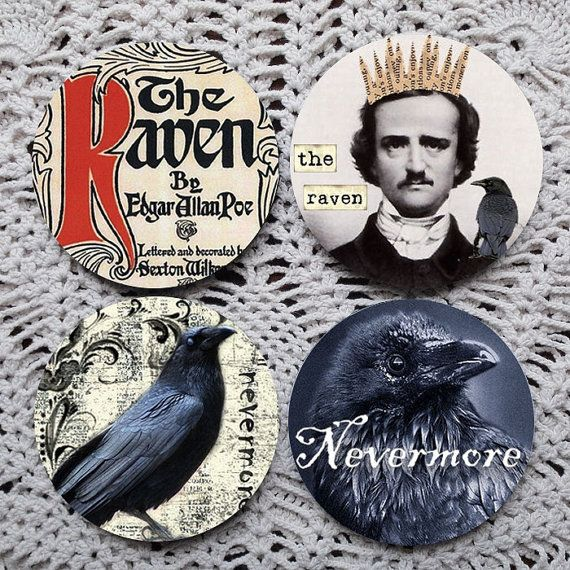 The Raven  Edgar Allan Poe Mousepad Coaster Set coasters Polkadotdog
