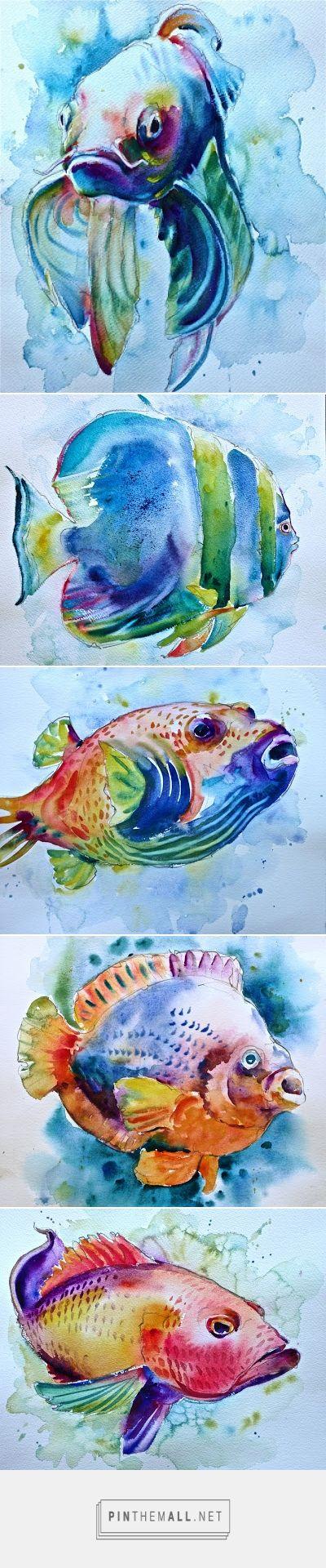 Watercolors by David Lobenberg: More fish in my net