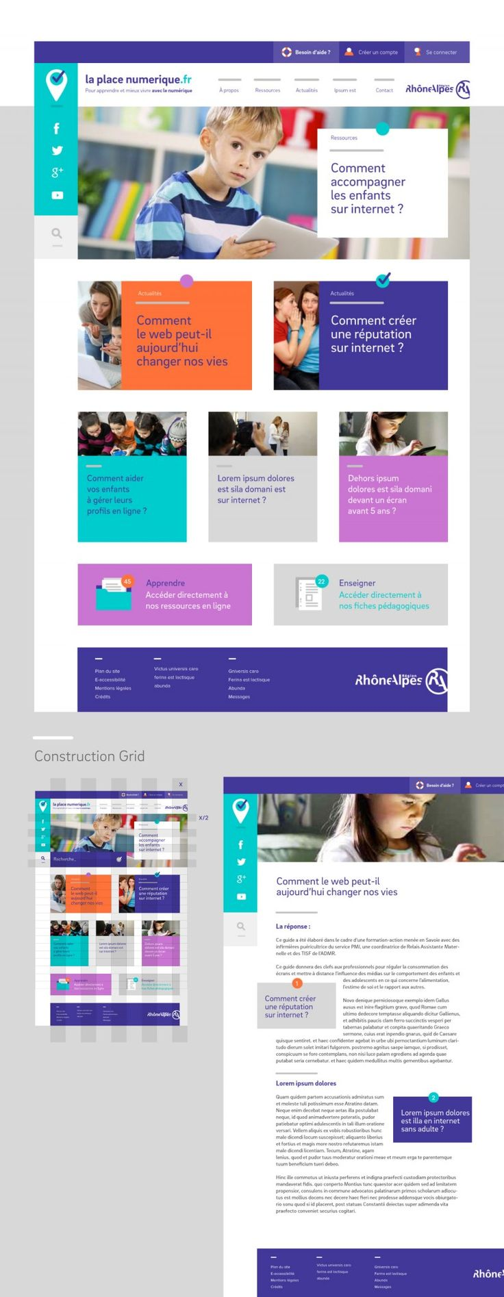 DA web, webdesign minimal flat design laplace-numerique-web  http://www.grapheine.com/portfolio/la-place-numerique