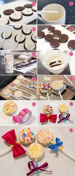 Tutorial para hacer piruletas con galletas oreo bañadas en chocolate blanco y decoradas con distintos toppings . #PostresParaFiestas
