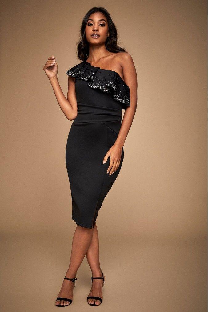 Lipsy Hot Fix One Shoulder Midi Dress | Dresses, Strapless ...