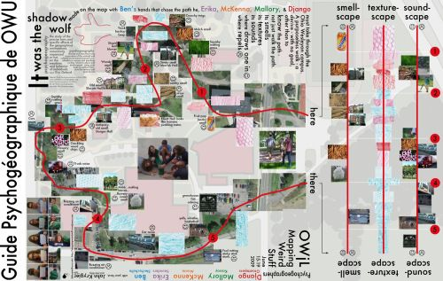 Psychogeography Map created by five Ohio students and other detailing their path through campus.