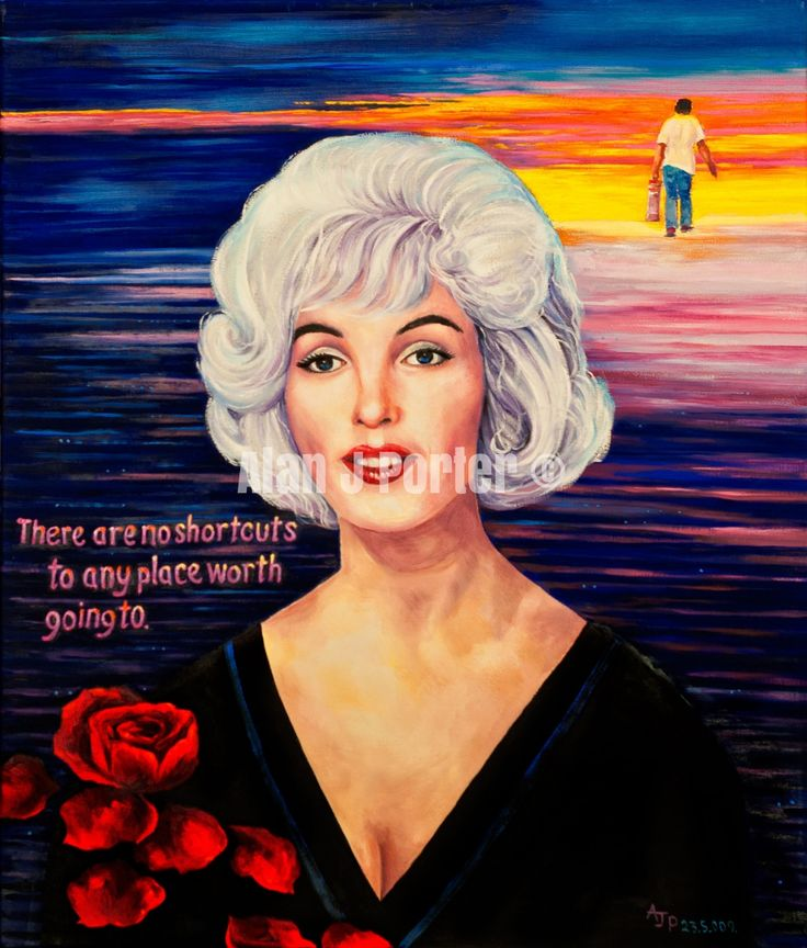 #love #alanjporterart #kompas #art #marilyn #monroe #normajean #painting #roses #sky #man