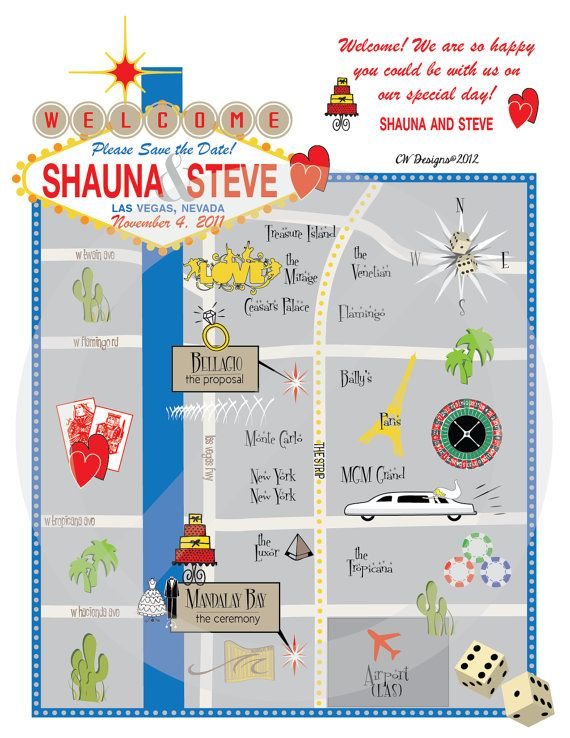 Las Vegas Wedding Map by CW Designs