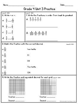 EM4 (Everyday Math 4) Grade 4 Unit 3 Extra Practice | TPT ...