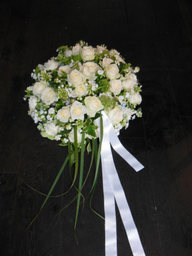 Funeral Flowers white with ribbon