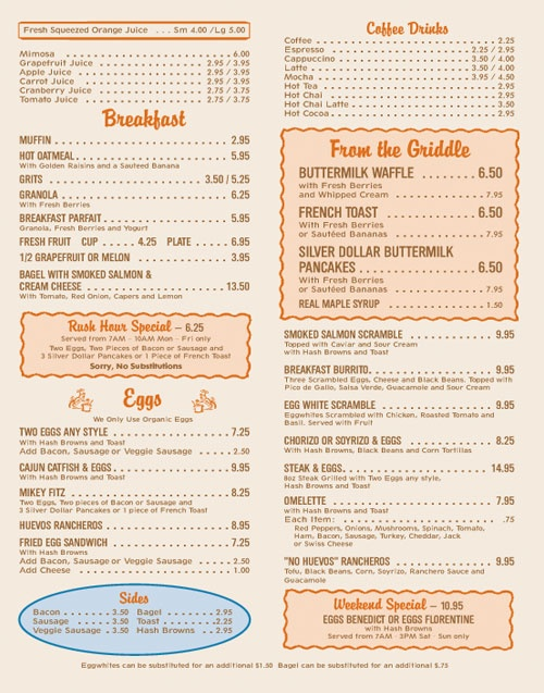The 101 Coffee Shop Menu, Pg. 1