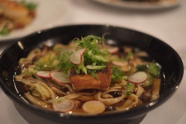 This amazing dish was one of the best meals I ever ate.  Red Snapper Udon with Udon Noodles, Bok Choy, Hon Shimeji Mushrooms, Scallions, & Dashi Broth at Cafe Josie in Austin