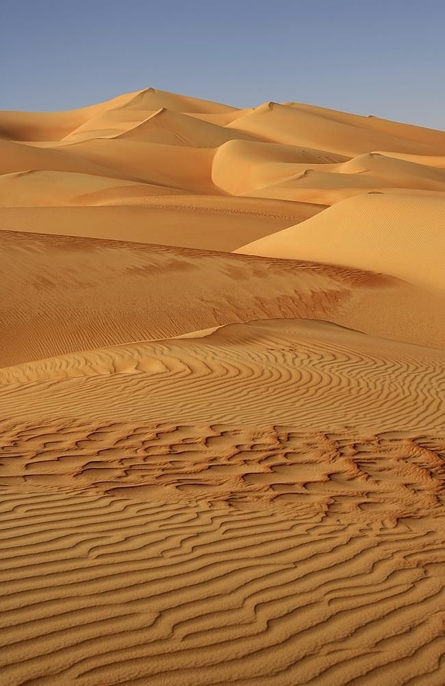 The hidden oasis of the Arabian Desert -- Abstract patterns in the dunes of the Rub al Khali or Empty Quarter.