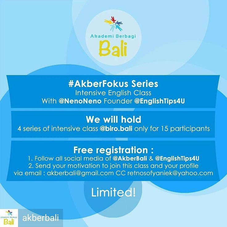 @Regrann_App from @akberbali -  #AkberFokus Series Intensive English Class with Retno Sofyaniek @NenoNeno (Founder @EnglishTips4U)  We will hold 4 series of intensive class. LIMITED seat only for first 15 subscriber.  How to join: 1. Follow all the social media account of @AkberBali & @EnglishTips4U 2. Send us your profile and motivation in joining this class via email: akberbali@gmail.com cc: retnosofyaniek@yahoo.com  FREE!  Submission due until November 1st  2016. - #regrann