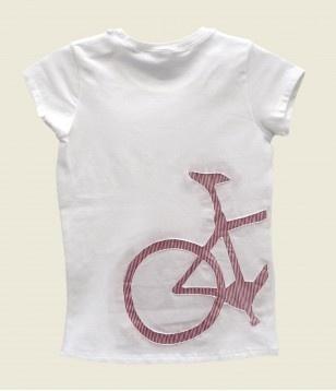 Camiseta m/c niña modelo bici rayas rojas - www.bulaniko.es