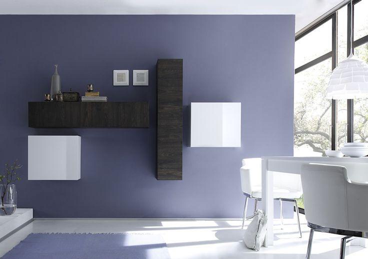 Ensemble de meubles suspendus GLENIC, coloris wengé et blanc brillant, Elément mural de salon