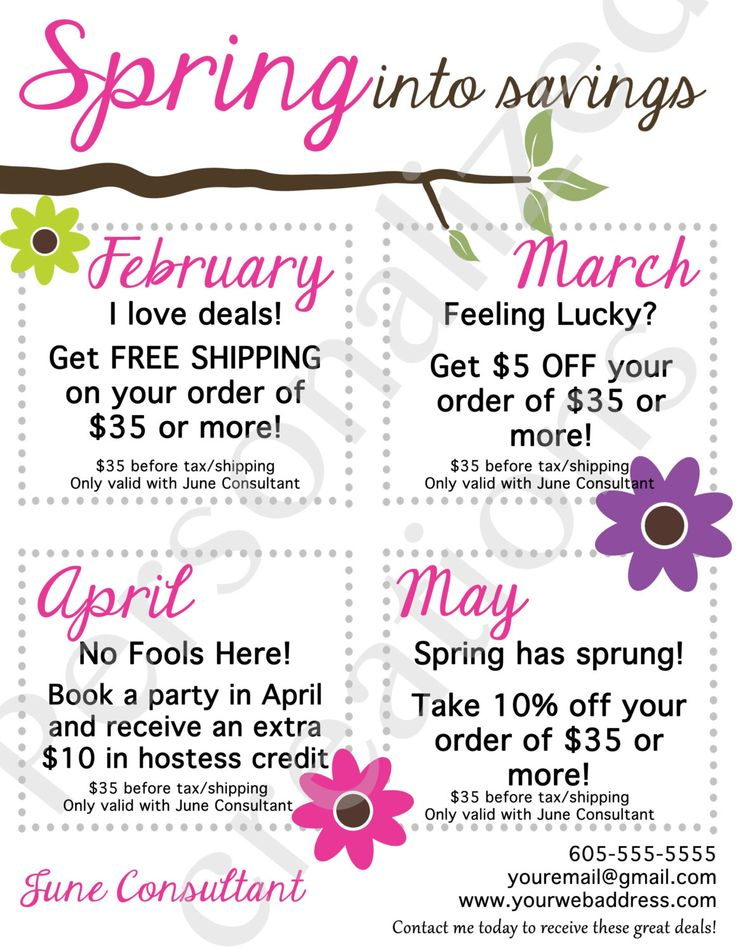 Printable Coupons for Your Direct Sales Business. Thirty-One, Origami Owl, Scentsy, South Hill Designs and more by Sweetcrystal135 on Etsy https://www.etsy.com/listing/222102970/printable-coupons-for-your-direct-sales