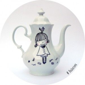 teapot spring girl with bird by bodesigns