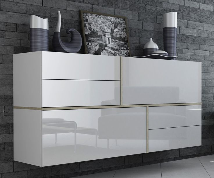 NaSmaak - Gayo Zwevend Design Dressoir Hoogglans Wit
