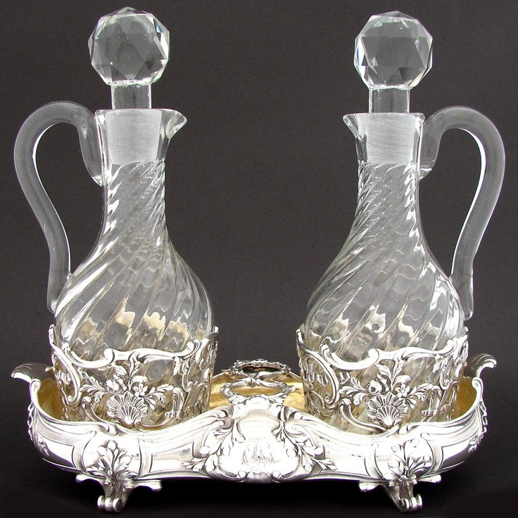 Antique French Sterling Silver Liqueur or Cruet Stand, Ornate w/ 2 Decanters