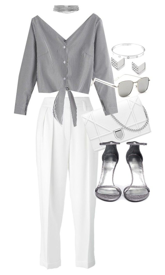 """Untitled #21217"" by florencia95 ❤ liked on Polyvore featuring Lanvin, Cartier, WithChic, Stuart Weitzman, Yves Saint Laurent and FOSSIL"
