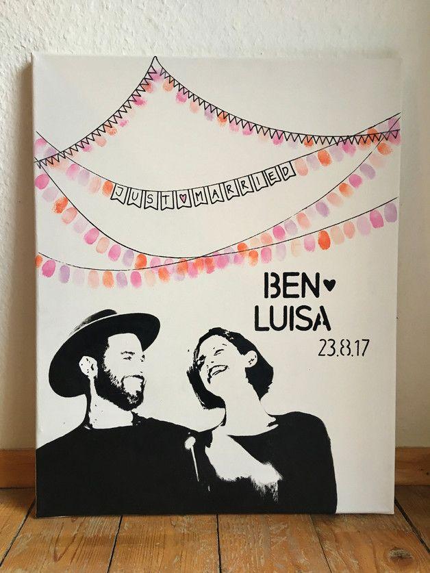 Personalisierter Wedding Tree mit Porträt auf 40×50 cm Leinwand // Geschenke für Hochzeit // Gastgeschenk //Fingerabdruck Hochzeit