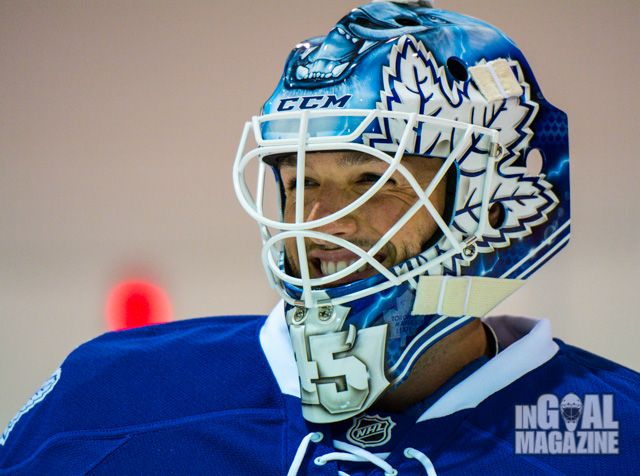 Jonathan Bernier debuted his new Toronto Maple Leafs mask at the Reebok CCM Goalie Summit in Montreal, including praying hands on the backplate to help him remember those he has lost.