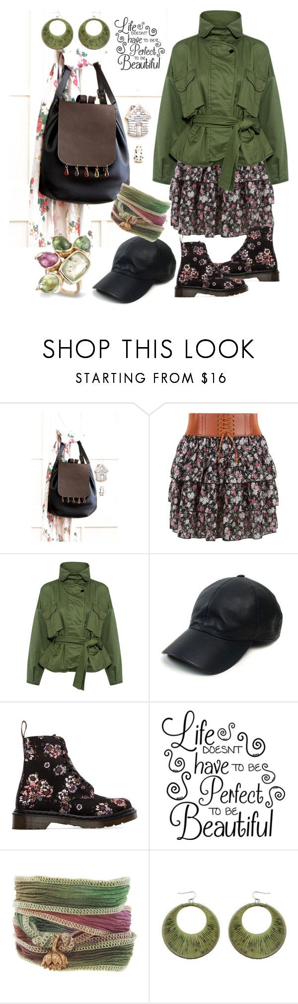 """Fall ideas"" by borsebyd ❤ liked on Polyvore featuring New Look, Marissa Webb, Vianel, Dr. Martens, Catherine Michiels, black, GREEN and backpack"