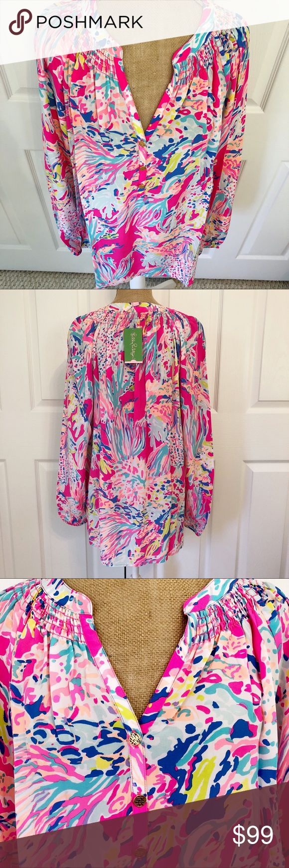 NWT Lilly Pulitzer Silk Elsa Top Sunken Treasure L NWT Lilly Pulitzer 100% silk Elsa Top in Sunken Treasure. Absolutely gorgeous colors in this one - love the hints of lavender. 💜 Elsa tops are a Lilly staple and perennial favorite. 100% silk so you can wear them year round, even in the hot summer. Tucked in or worn out, elastic sleeves pushed up or left long, loose & flowy or add a belt, colorful peek out from under a blazer, wear with skinny jeans, dress pants or a pencil skirt - a true…
