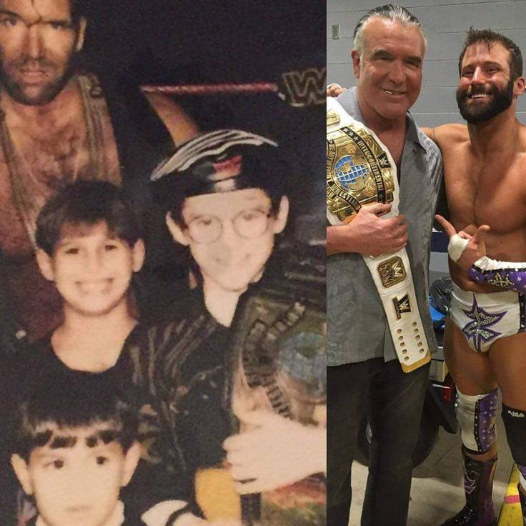 A young Zack Ryder holding Razor Ramon's Intercontinental Title. Then years later after Wrestle Mania 32, the roles are reversed