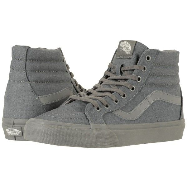 Vans SK8-Hi Reissue ((Mono Chambray) Gray/Gray) Skate Shoes ($70) ❤ liked on Polyvore featuring shoes, sneakers, skate shoes, grip trainer, grey high top sneakers, vans high tops and grey sneakers