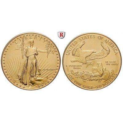 USA, 50 Dollars seit 1986, 31,11 g fein, st: 50 Dollars 31,11 g fein, seit 1986. Eagle - 1 Unze. GOLD, stempelfrisch, Tagespreis… #coins