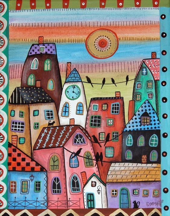 4 PM 11x14 inch ORIGINAL CANVAS PAINTING Cats Folk Art HOUSES Birds Karla Gerard.. new painting just finished and added to store...for sale now... #FolkArtAbstractPrimitive: