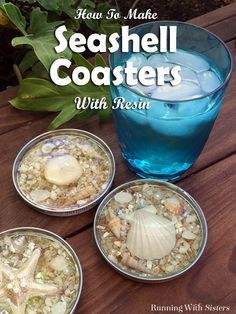DIY Seashell Coasters - Made With resin -- Learn how to turn jar lids into beachy coasters embedded with pretty shells! This complete step by step craft tutorial shows how to upcycle cookie tin lids, how to arrange seashells for a pretty design, and how top them with clear resin. Includes a video and written instructions for how to mix and pour two-part resin! Wonderful gift craft for a beach lover!