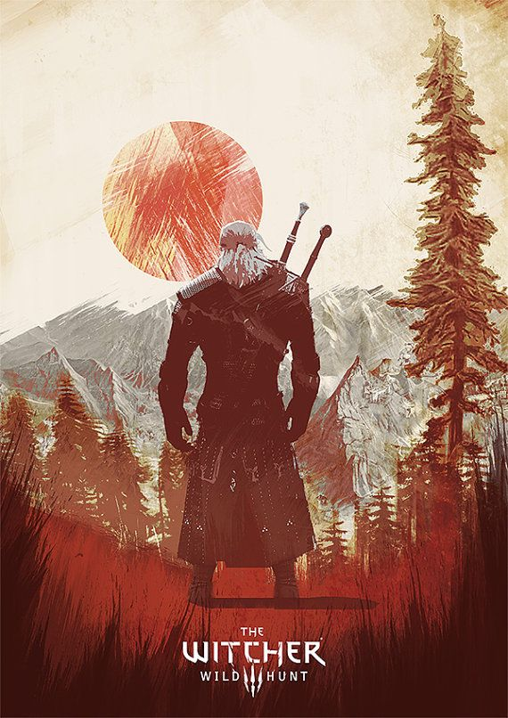 the Witcher 3 wild hunt art print geralt poster game by Lautstarke