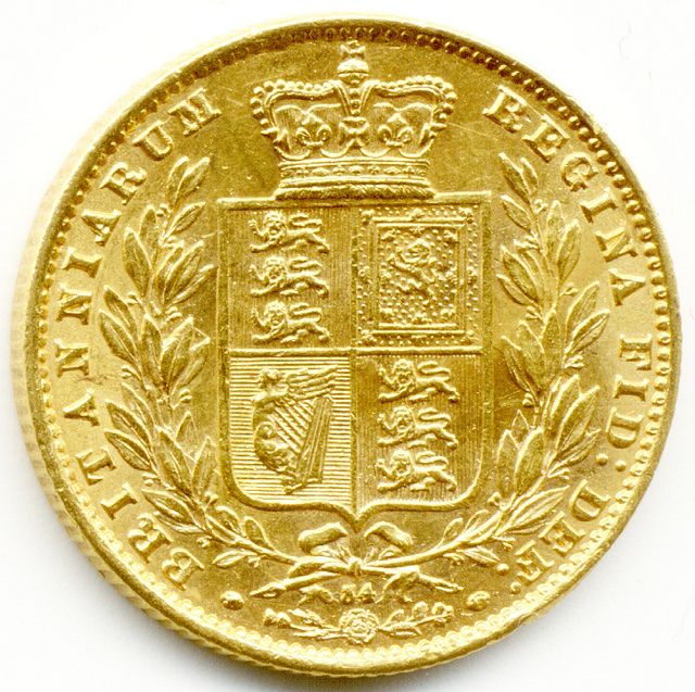 COINS FOR SALE IN LONDON, 1866 UNITED KINGDOM, GOLD FULL SOVEREIGN COIN