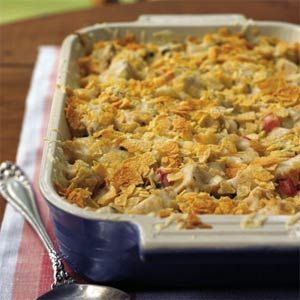 Overnight Chicken Casserole  Make this the night before & you have a meal ready when you are.    Mix 3 cups of chopped cooked chicken &    2 cups of uncooked large elbow macaroni with    1 10oz can of cream of mushroom soup & 1 10oz can of cream of chicken soup &    1 soup can of milk &    1 soup can of