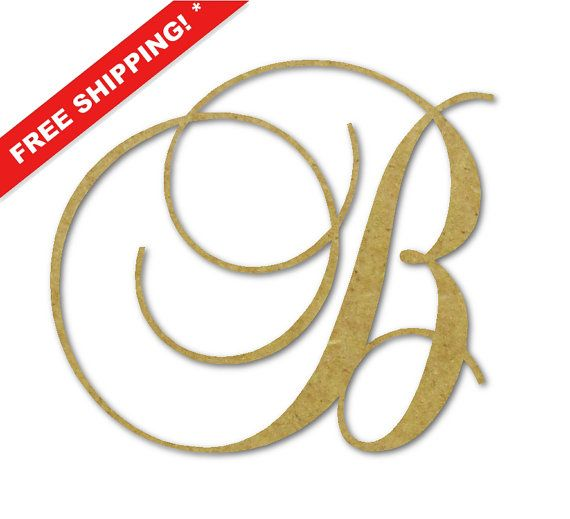wooden monogram letter b large unfinished cursive wooden letter perfect for crafts diy weddings sizes to