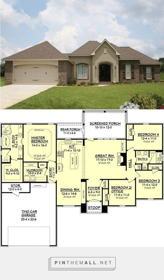 European Style House Plan 4 Beds