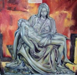 La Pieta, study on Michelangelo.  78cm x 78cm Oil on canvas board. Based on Michelangelo's sculpture at St Peters Basilica. Phillip Carrero.
