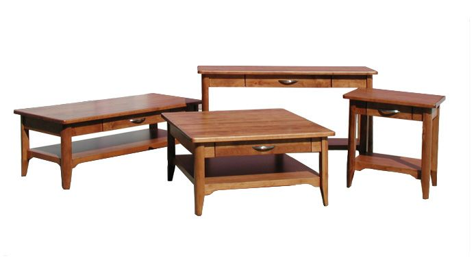 Sophia Occasional Table Collection. Available in 6 different stains of hardwood. For more information visit www.portfoliointeriors.ca/brand/canadian-wood-manufacturing