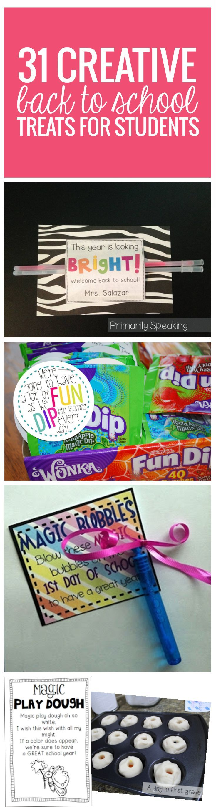 31 Creative Back to School Treats for Students {printables} from Teach Junkie 31 Creative Back to School Treats for Students - comes with free printables - love it