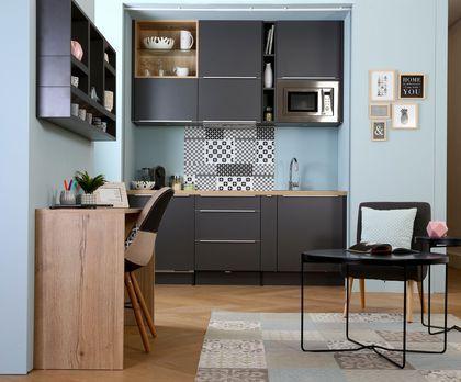Une kitchenette graphique et pleine d'astuces d'aménagement, Socooc